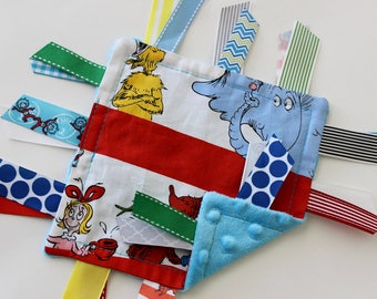 taggie, blanket, baby, boy, small, travel, Dr. Seuss, blue, red, ribbon, lovey, texture, sensory, gift