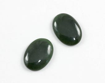 Nephrite Jade Pair 18x25mm Oval Cabochon Destash Sale Discount Clearance