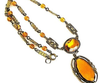 Art Deco Amber Glass and Paste Pendant Necklace