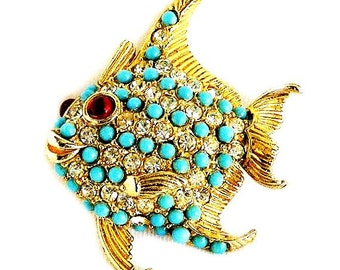 Ciner Unsigned Smiling Cute Fish Figural Brooch