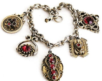 Jewelcraft by Coro Red Rhinestone Charm Bracelet