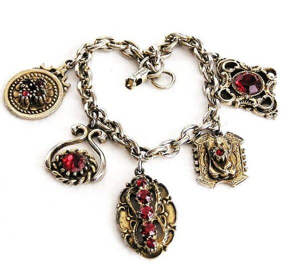 Jewelcraft by Coro Red Rhinestone Charm Bracelet