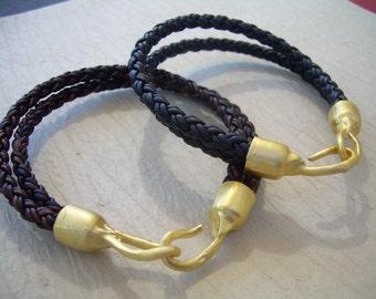 Braided Leather Bracelet with Organic 22k Gold Plated Hook Clasp, Leather Bracelet, Mens Bracelet, Womens Bracelet, Mens , Mens Jewelry