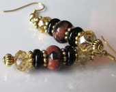 Gemstone Earrings, Multi-Gemstone Earrings, Blue Marbled Brown Goldstone, Black Onyx, Gold Czech Glass