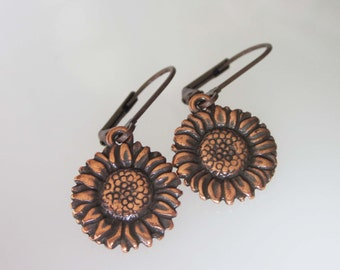Antiqued Copper Sunflower Earrings, Flower Dangles, Small Leverback Earringss, Flower Earrings, Metal Earrings