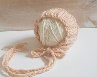 Cashmere and Merino Wool Bonnet/Newborn Baby Bonnet/Newborn Photo Prop/Baby Bonnet/Knit Newborn Hat/Newborn Hat