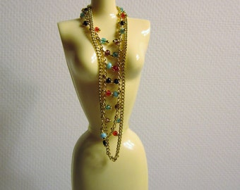 Double strand gold bead necklace for 11.5 inch dolls