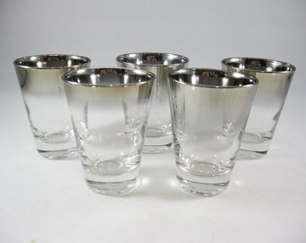 Silver Ombre Shot Glasses, Vintage Bar Glasses