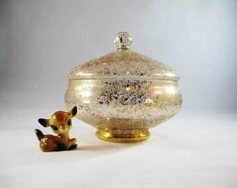Mid Century Gold Speckled Apothecary Jar,  West Virginia Glass Co.