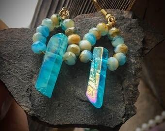 Blue Aqua Aura Crystal Earrings