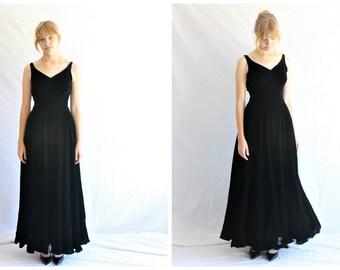 30s black velvet gown | velvet maxi dress vintage bias cut