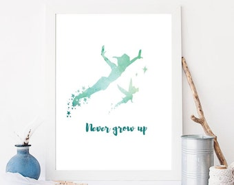 Never grow up, neverland, peterpan, tinker bell,  baby newborn gift, boy's bedroom, DIY PRINT