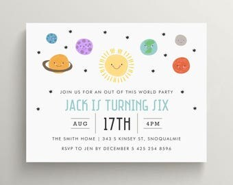 outer space birthday invitation set // baby shower invitation // out of this world // rocket party // space // stars // solar system // note