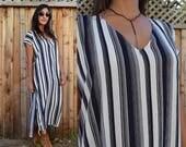 Gypsy Eyes DESERT CAFTAN Striped Boho Maxi Resort Dress
