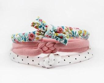 Skinny Knotted Headband Set, Newborn Headband Set, Baby Girl Headband, Baby Bow, Baby Knot Headband, Boho Headband, Flower Bow, Polka Dot