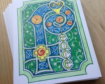 6 blank cards - PEACE - illuminated manuscript