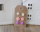 Anthropologie Style Floral Earring Gift Set. Flower Earring Studs. Pink Rose Studs. Ivory Flower Studs. Purple Floral Posts