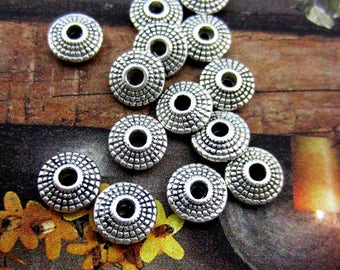 24 Round antique silver beads spacers focal beads jewelry supply 8mm x 4mm patterened silver saucer beads 8S051(T3),