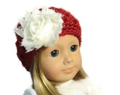 ON SALE 18 Inch Doll Accessories Hat Red White Flower