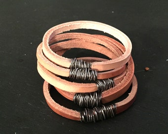 Natural Leather and Sterling Silver Bangle