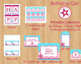 Birthday Girl Printable Party Package, All American Girl Birthday, Printable Birthday Set, DIY, CHOOSE 4