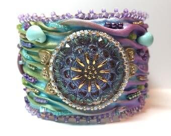 Shibori silk bead embroidered cuff bracelet