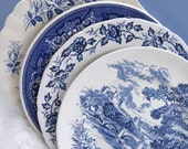 "Set of 4 Mismatched Ironstone China 10"" Dinner Plates, Mix and Match for Vintage Wedding or Tea Party, Blue White DP19"
