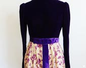 60s baroque  PURPLE VELVET Maxi dress Gown size small