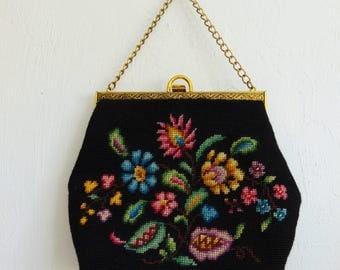 60s NEEDLEPOINT Granny purse handbag floral design