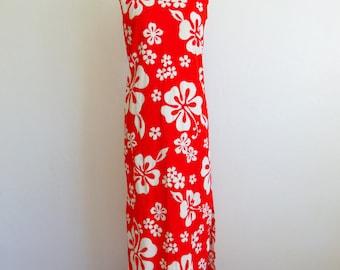 70s Pacific Isle Hawaiian MAXI dress Hibiscus print size medium