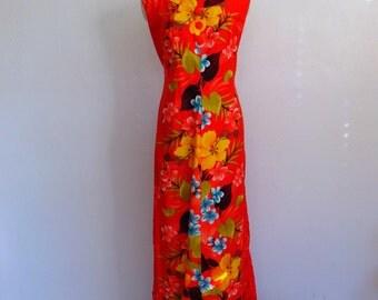 70s Sears Hawaiian Fashions MAXI dress with Hibiscus print size large