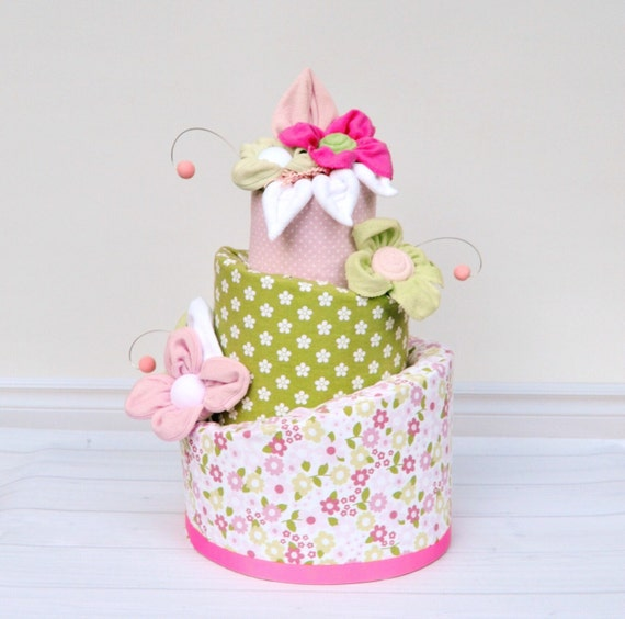 Flower Diaper Cake, Pink and Green Baby Shower, Girl Diaper Cake Baby Shower Centerpiece or Decoration, Flower Shower Decor, Baby Girl