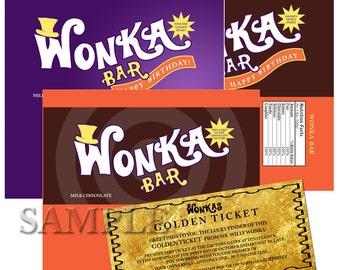 WONKA BAR Hershey size Label Instant Download Printable