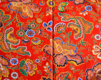 Vintage Fabric - Red Floral Jacobean - By the Yard
