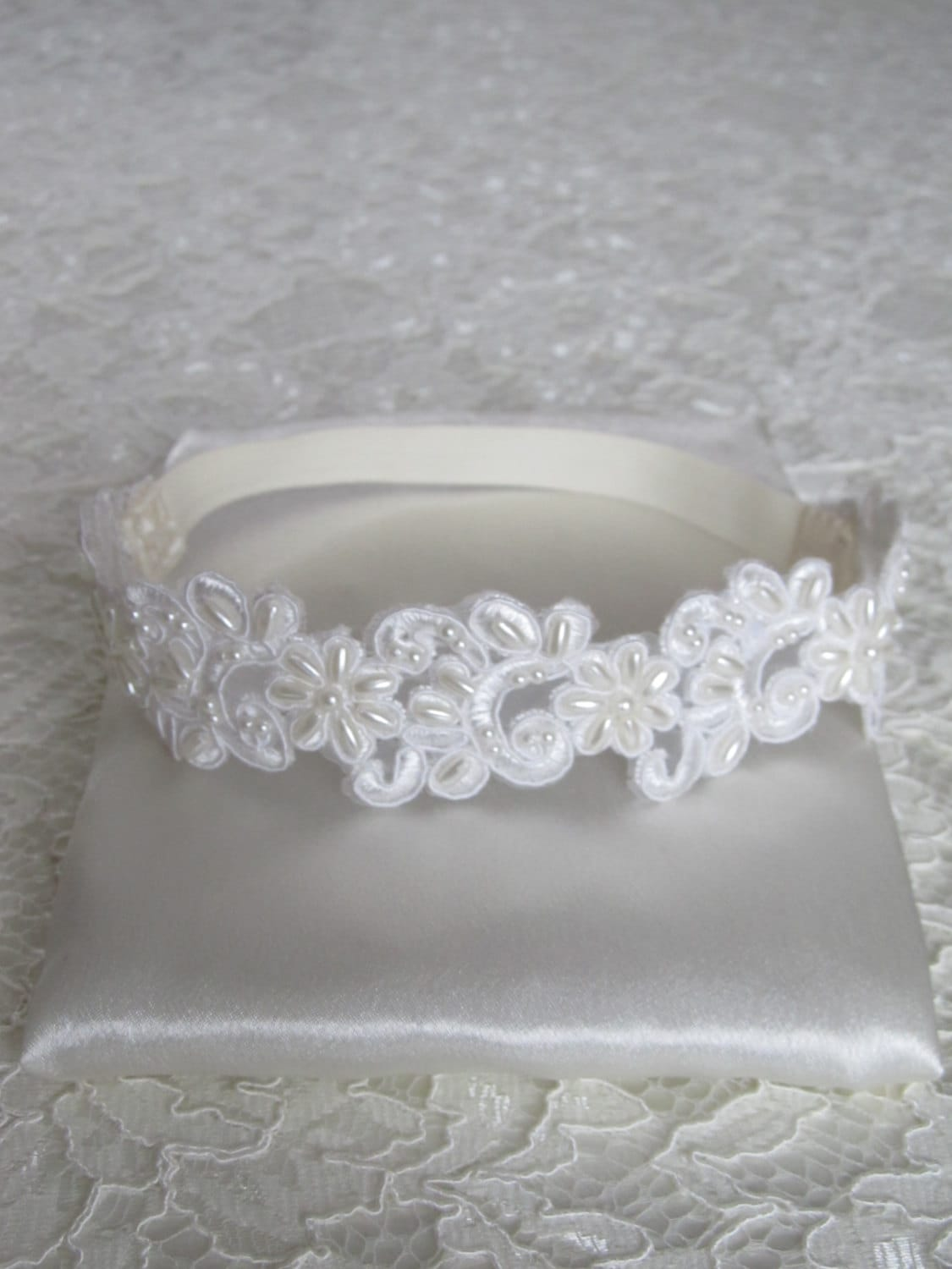 Beaded French Ivory Lace Bridal Garter,Wedding Garter,Bridal Accessories,Style #G03