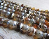 6mm Faceted Etched Agate bead strand, Etched Agate beads, Etched Agate, 6mm beads, bead strands, gemstones, gemstone bead strands