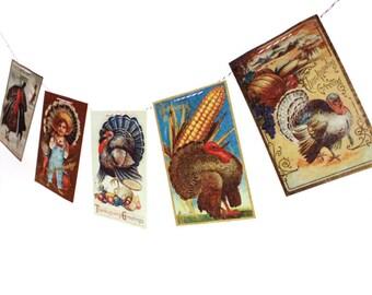 Vintage Thanksgiving Banner - Thanksgiving Garland - vintage Thanksgiving postcards - photo reproductions on felt