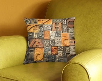 Vintage Metal and Wood Type Alphabet Pillow Cover - vintage typography - alphabet letterpress pillow case - 2-sided printing