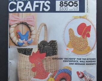 McCalls 8505/Uncut Vintage Sewing Pattern/Chicken Kitchen Decorations/Centerpiece/Magnets/Wreath/Picture/1983 Craft Pattern