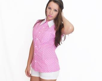 Cotton Button Down Shirt No Sleeves Pink Heart Print Summer Blouse Classic Women's Wear