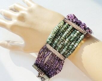 Amethyst Peridot Sterling Silver Bracelet Designer M