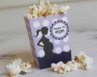 "Ready to Pop ""The Leah"" Purple Baby Shower Popcorn Favor Box (SET OF 10)"