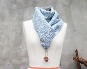 Tiny leaf spring autumn cotton weighted scarf with large brown howlite skull charm