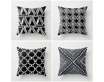 Black and White Throw Pillow - Modern Throw Pillow - Geometric Pillow - Black Cushion - Triangle Dot - Throw Pillow 16 18 20 24 inch