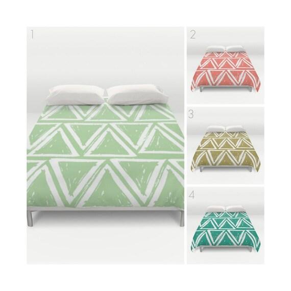 Modern Duvet Cover - Fern Green duvet cover - Twin XL Duvet - Coral duvet cover - queen duvet cover - Twin bedding - King duvet - Full duvet