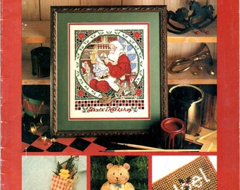 Celebrations Santa Claus Painting Gift Bags Cross Stitch Ornaments Bread Dough Teddy Bears Christmas Craft Pattern Leaflet Leisure Arts 1989