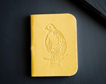 Mini Notebook - Yellow Leather Pocket Size Notebook -  Bird Mini Notebook - Field Notes Mini Leather Journal