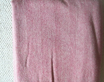 Beautiful 100% Woolen Blanket Berry Colored Herringbone Pattern