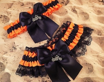 Motorcycle Black Orange Satin Black Lace Wedding Garter Toss Set