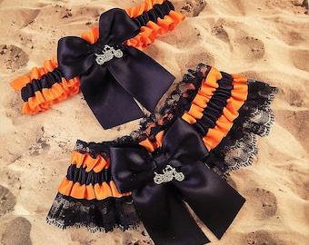 Motorcycle Black Orange Satin Black Lace Wedding Garter Toss Set